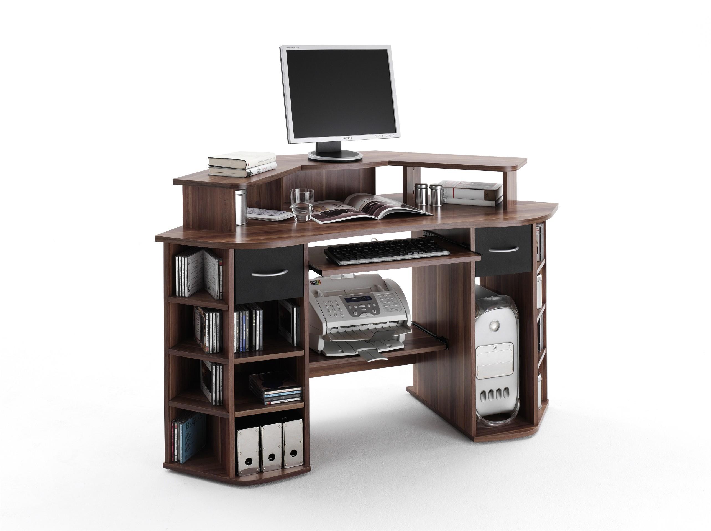 belting computer eckschreibtisch walnuss schwarz 115. Black Bedroom Furniture Sets. Home Design Ideas