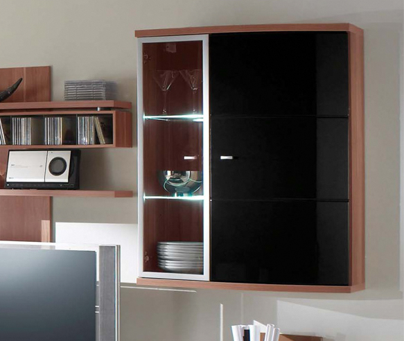 karis h ngeelement vitrine kernnussbaum. Black Bedroom Furniture Sets. Home Design Ideas