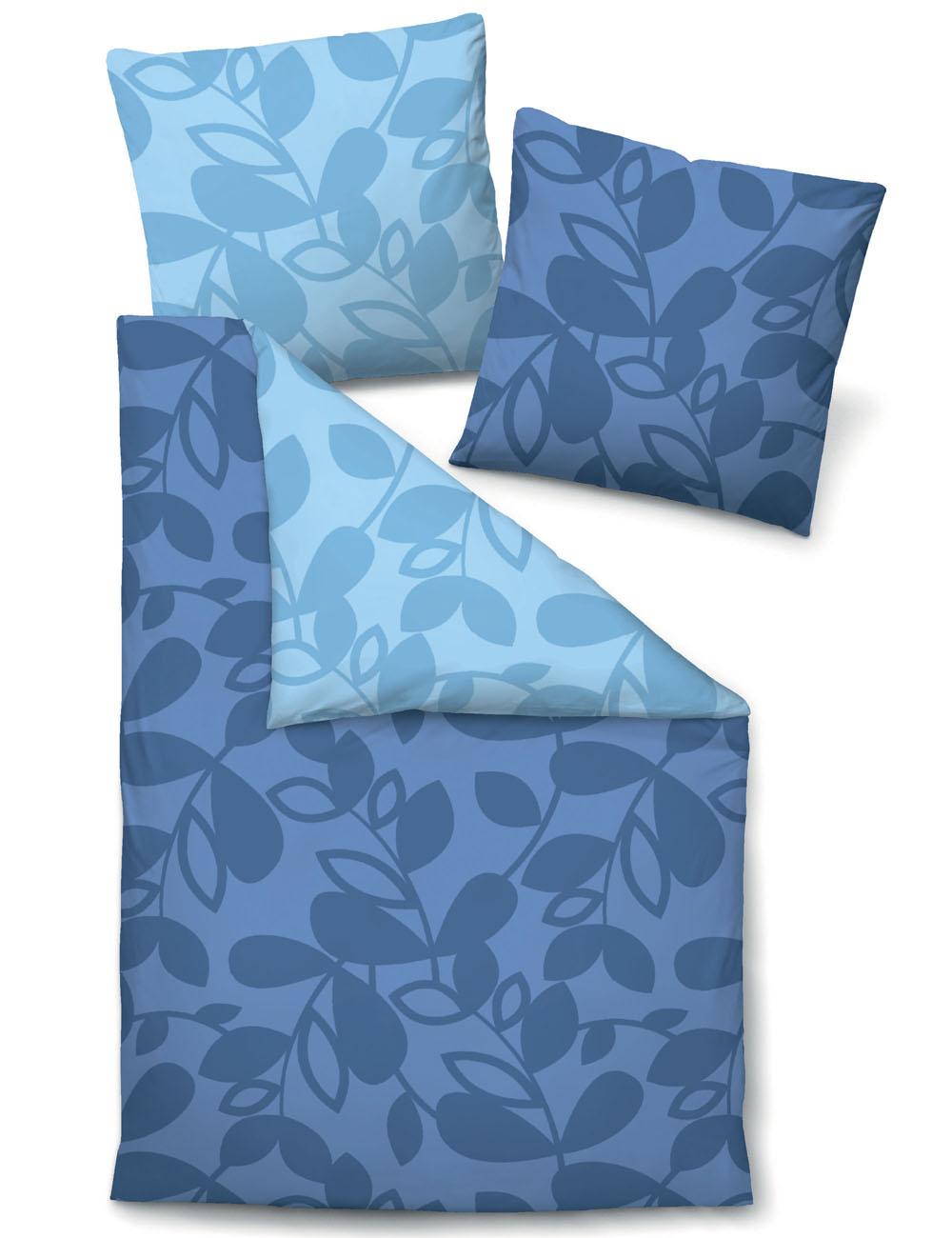 Biberna Satin Bettwäsche Blätter blau