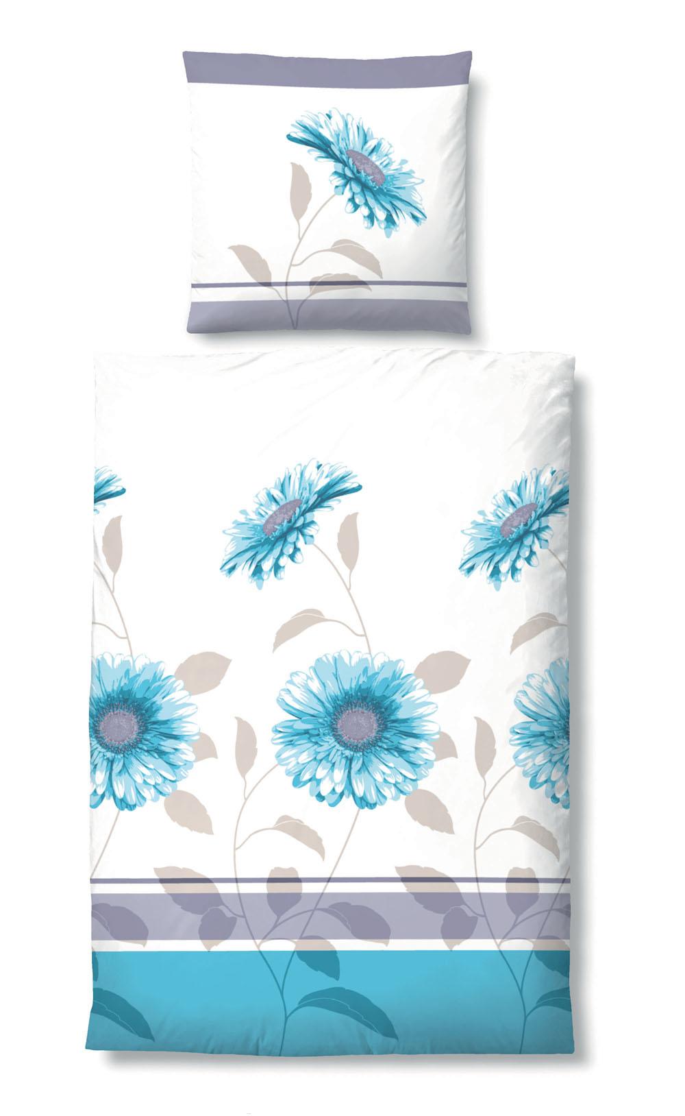 Biberna Satin Bettwäsche Blumenmuster blau