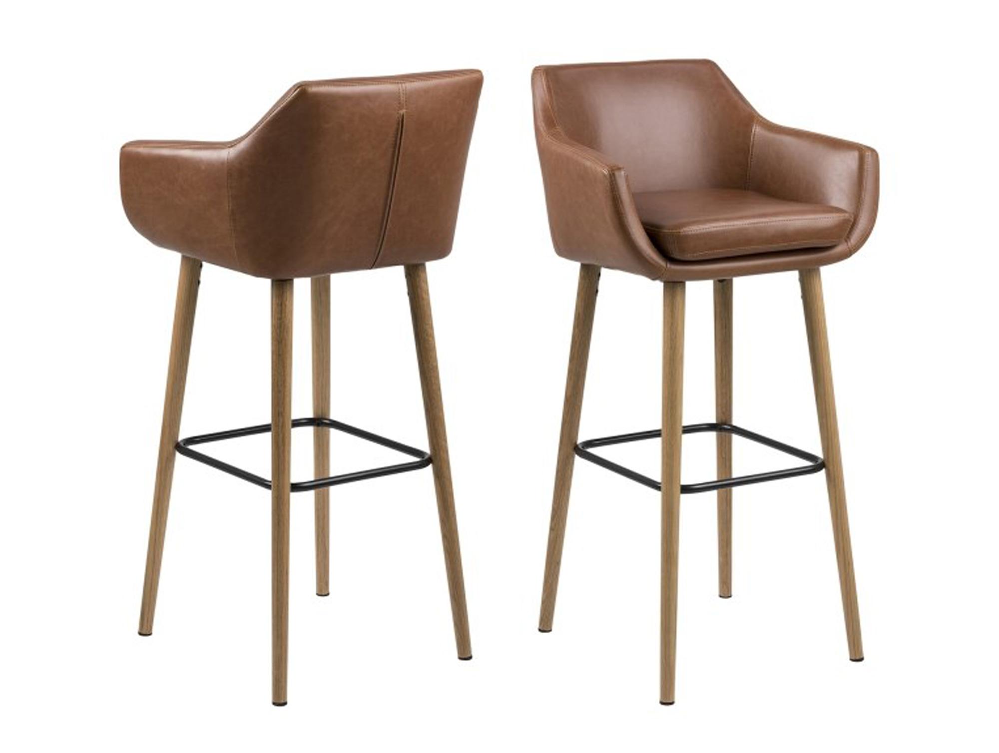 napola barhocker eiche pu vintage cognac. Black Bedroom Furniture Sets. Home Design Ideas
