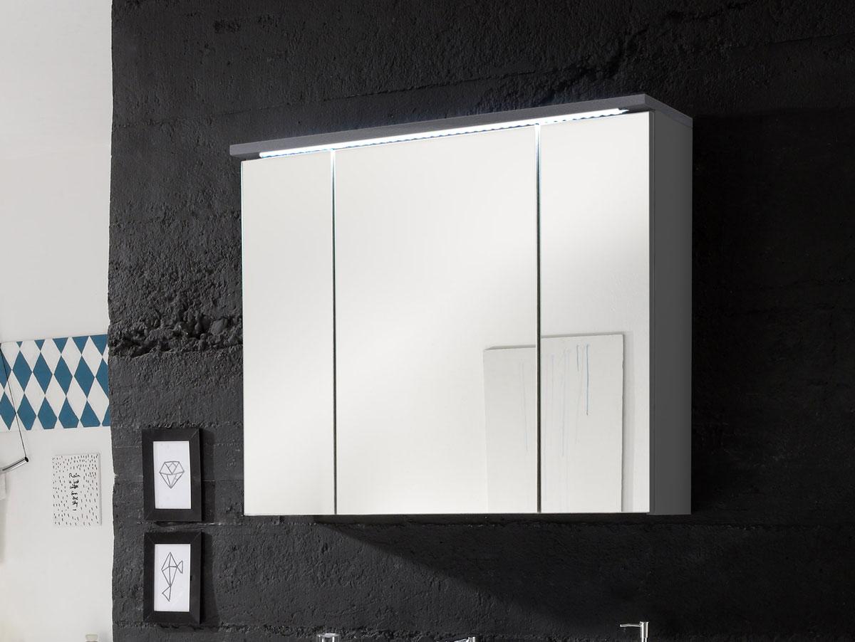 slot spiegelschrank inkl led beleuchtung grau. Black Bedroom Furniture Sets. Home Design Ideas