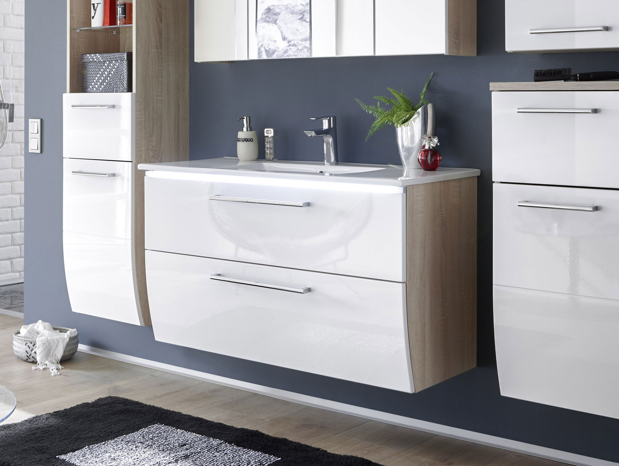 marlena waschbeckenunterschrank inkl becken eiche son. Black Bedroom Furniture Sets. Home Design Ideas