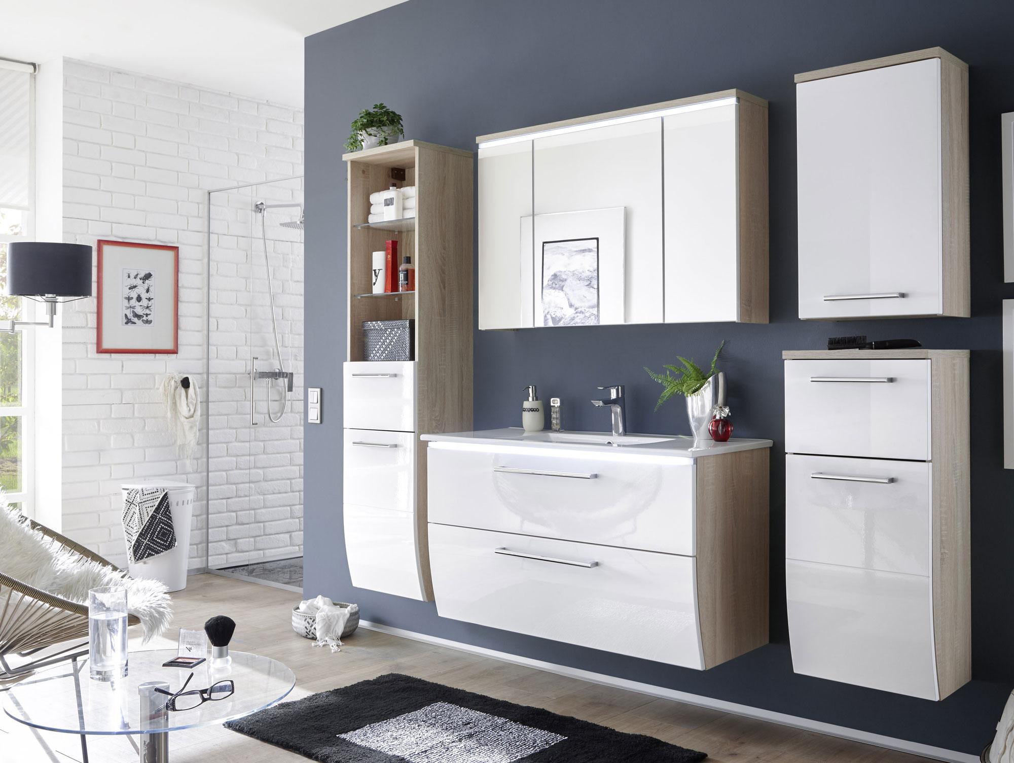 marlena badezimmer set eiche sonoma wei. Black Bedroom Furniture Sets. Home Design Ideas