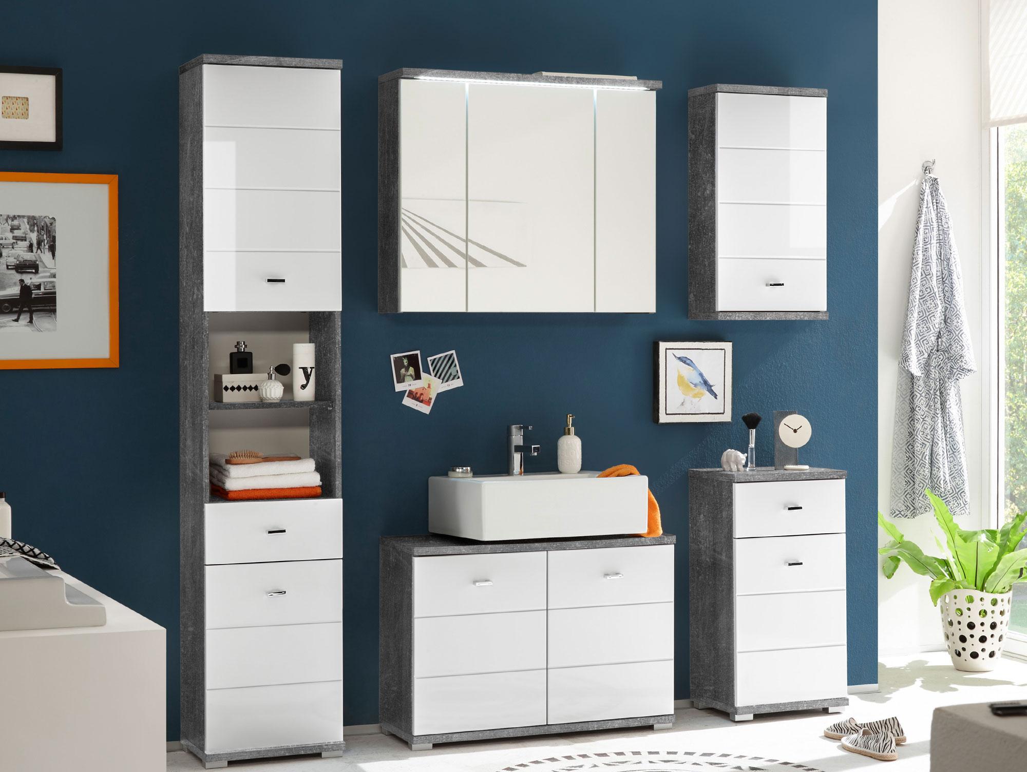 Vorschaubild von PABLO Badezimmerset 5tlg Beton / weiß