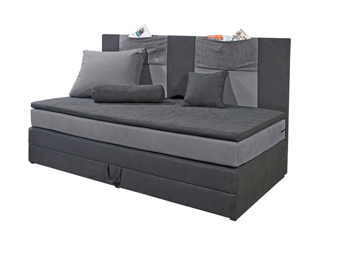 kids boxspringbett 90x200 cm schwarz grau. Black Bedroom Furniture Sets. Home Design Ideas