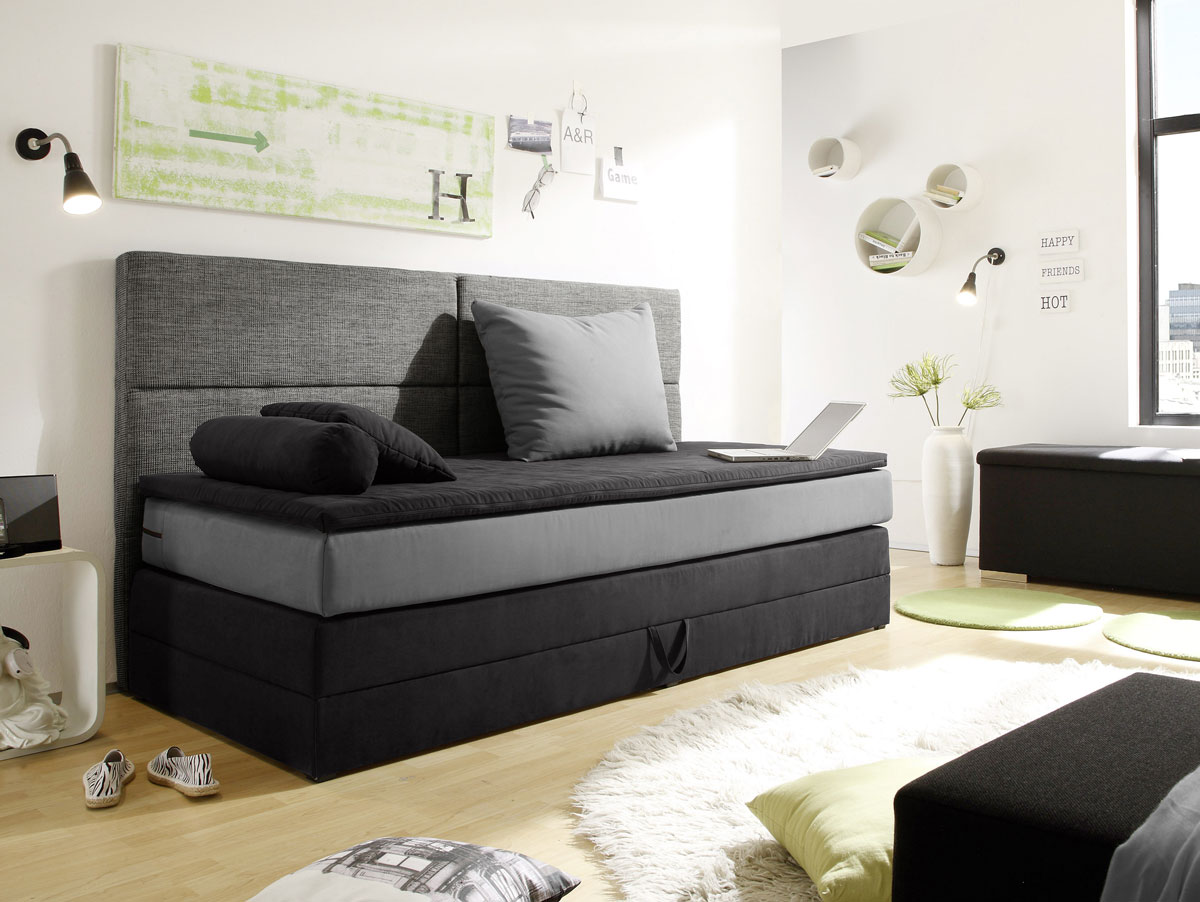 patron boxspringbett 90x200 cm schwarz grau. Black Bedroom Furniture Sets. Home Design Ideas