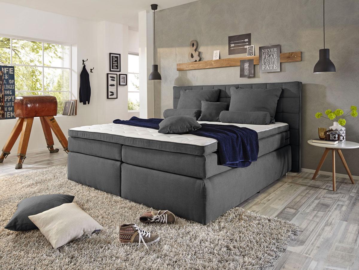 imperium boxspringbett 180x200 cm h rtegrad 3 anthrazit. Black Bedroom Furniture Sets. Home Design Ideas
