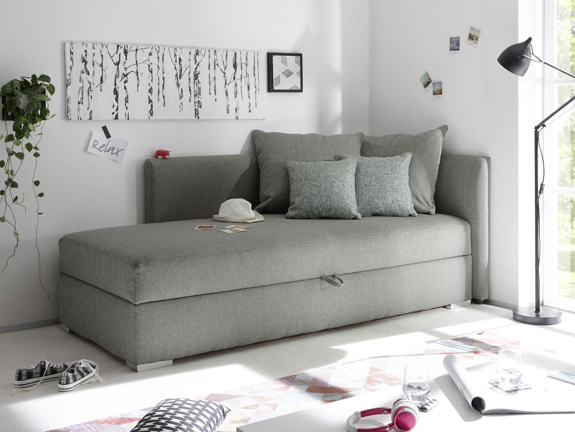 marina sofaliege schlafsofa mit bettkasten silver. Black Bedroom Furniture Sets. Home Design Ideas