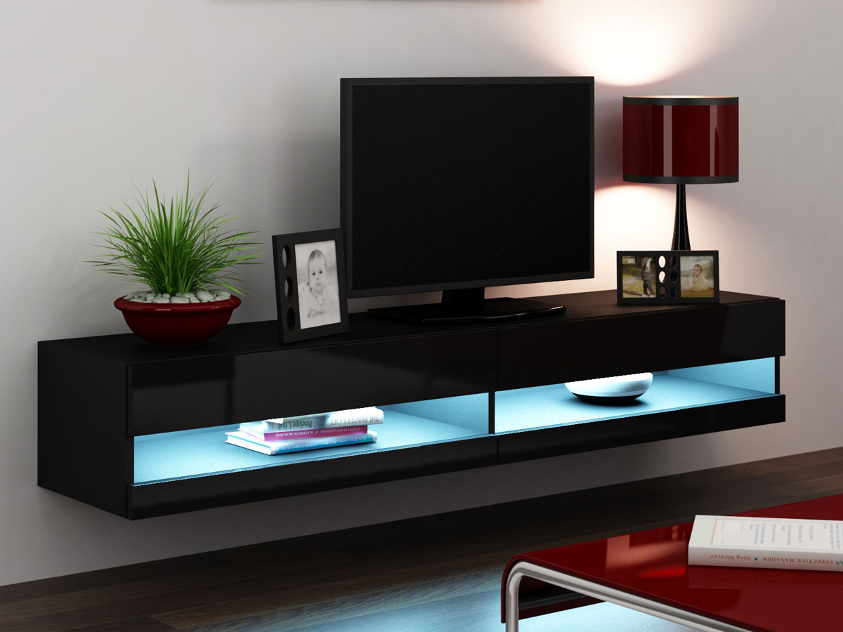vanity tv unterteil rtv new mit hochglanz front schwarz. Black Bedroom Furniture Sets. Home Design Ideas