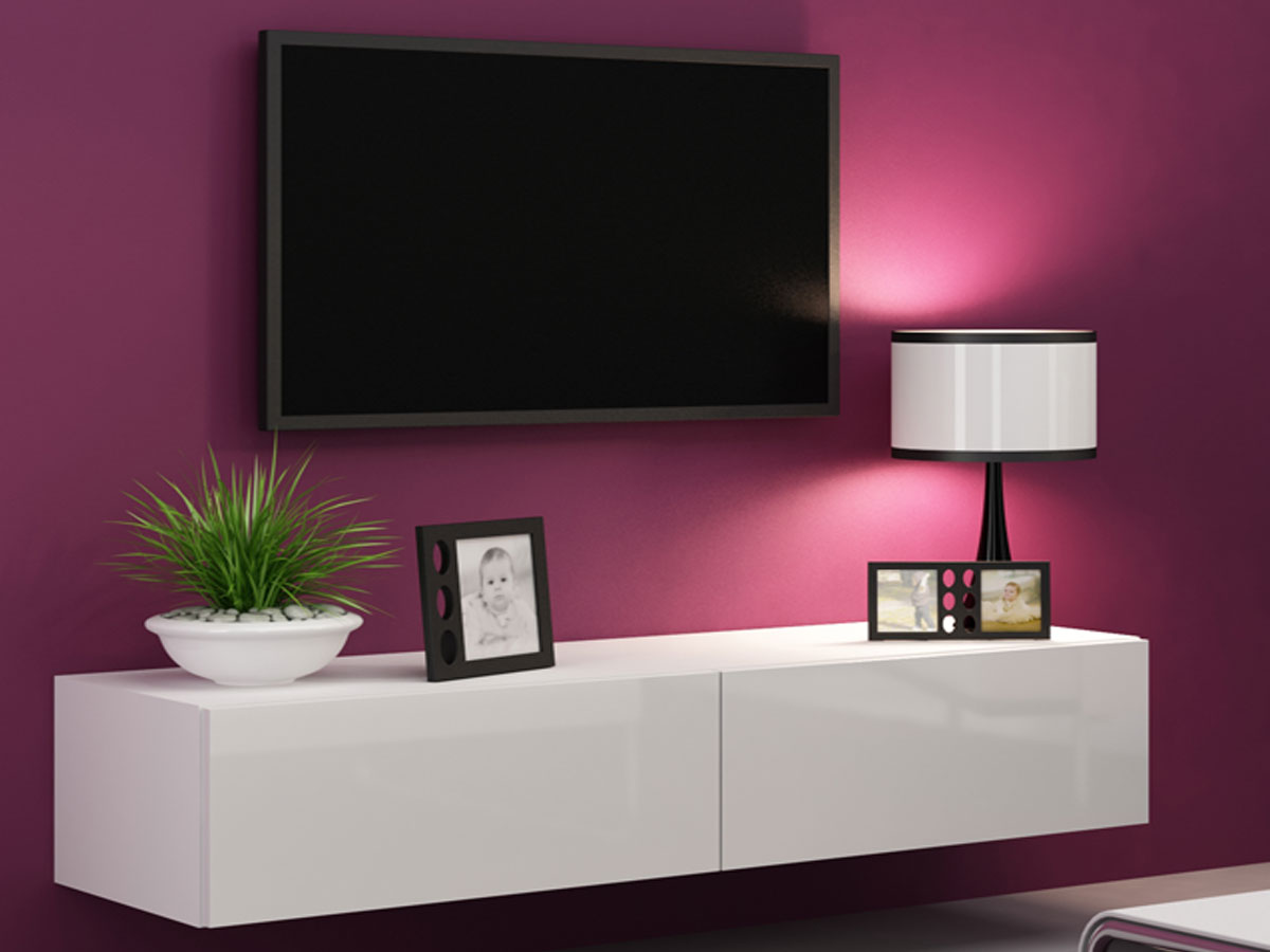 vanity tv unterteil mini 140 cm weiss. Black Bedroom Furniture Sets. Home Design Ideas