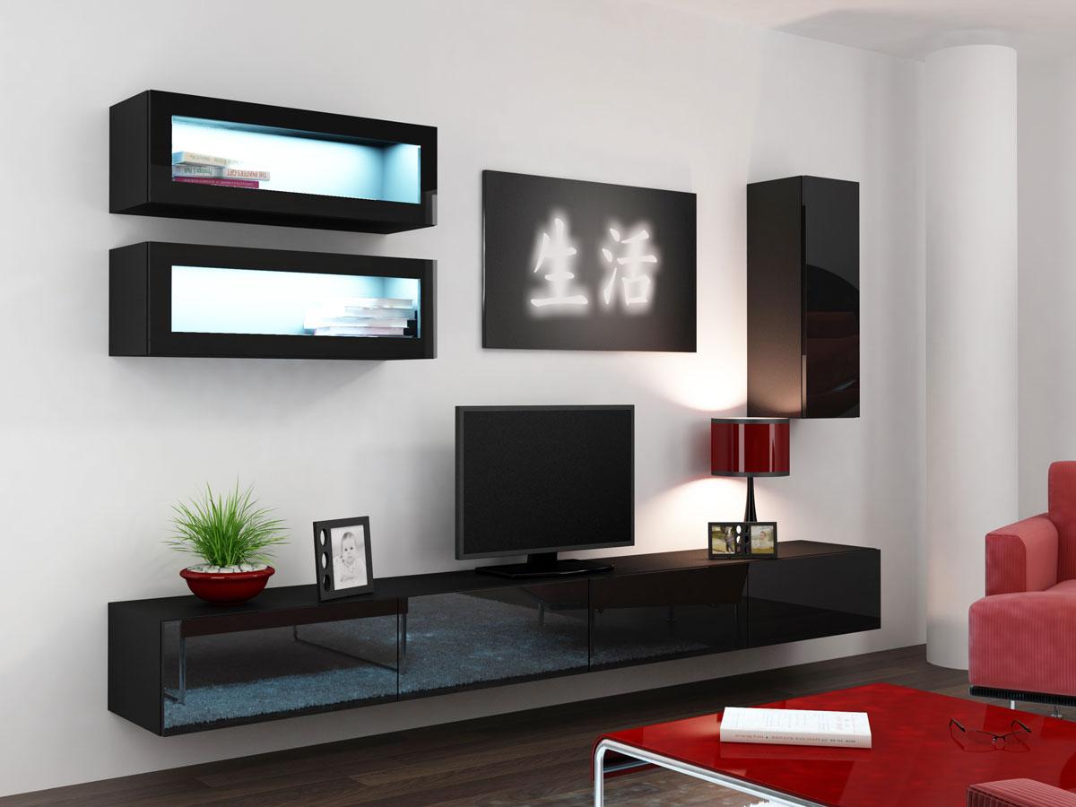 vanity wohnwand front hochglanz schwarz. Black Bedroom Furniture Sets. Home Design Ideas