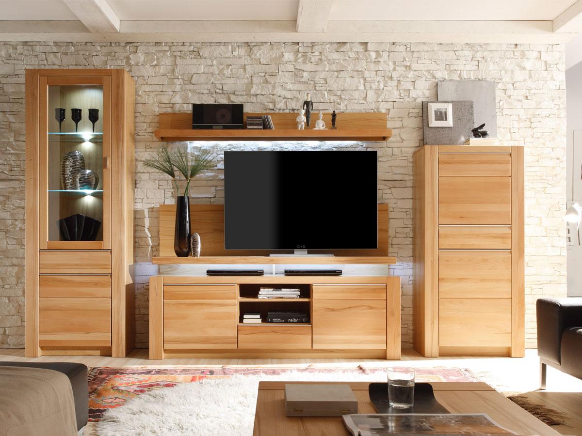 wohnwand kernbuche teilmassiv m bel g nstig kaufen. Black Bedroom Furniture Sets. Home Design Ideas