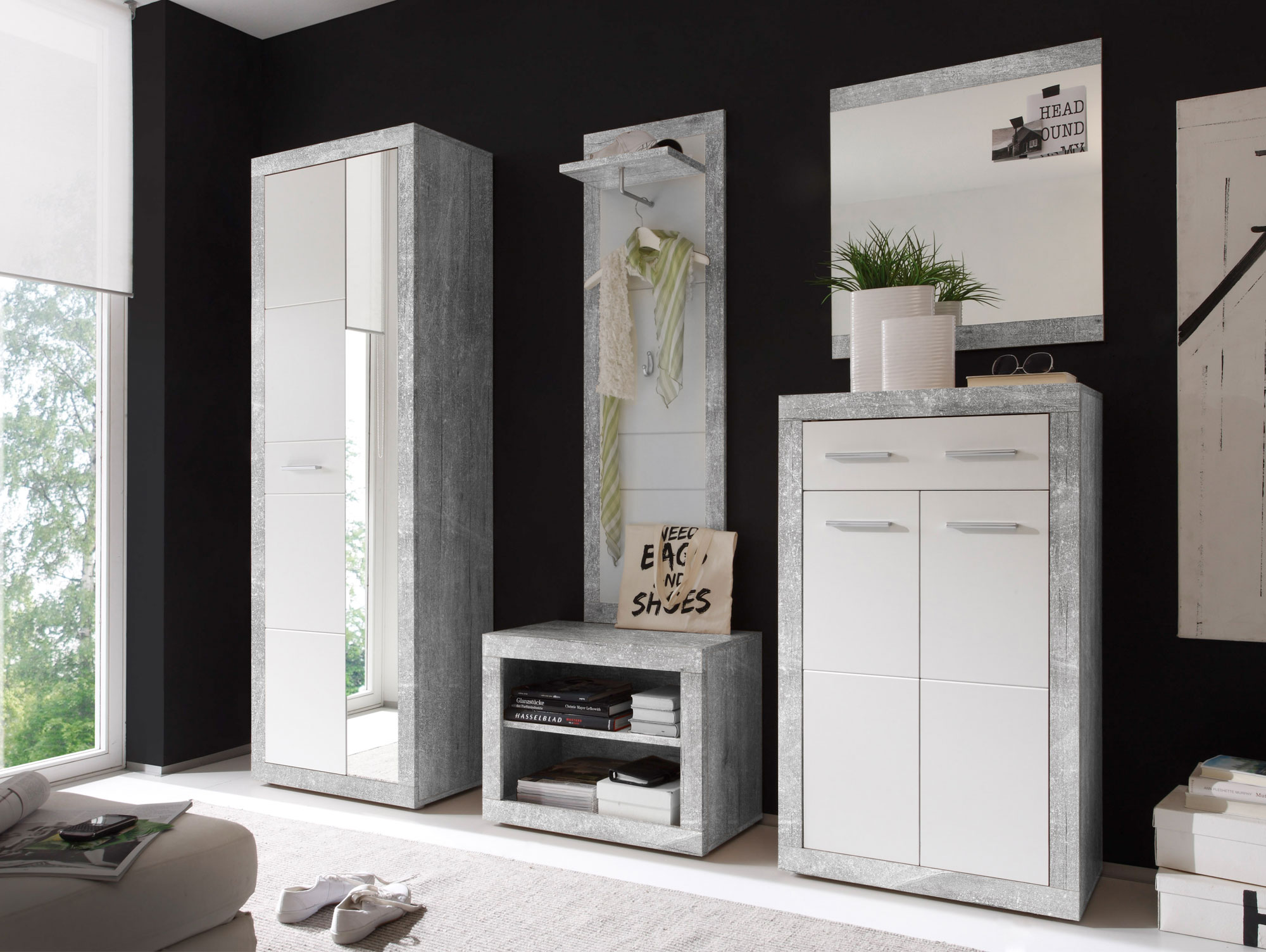 stan v garderobe beton wei glanz. Black Bedroom Furniture Sets. Home Design Ideas