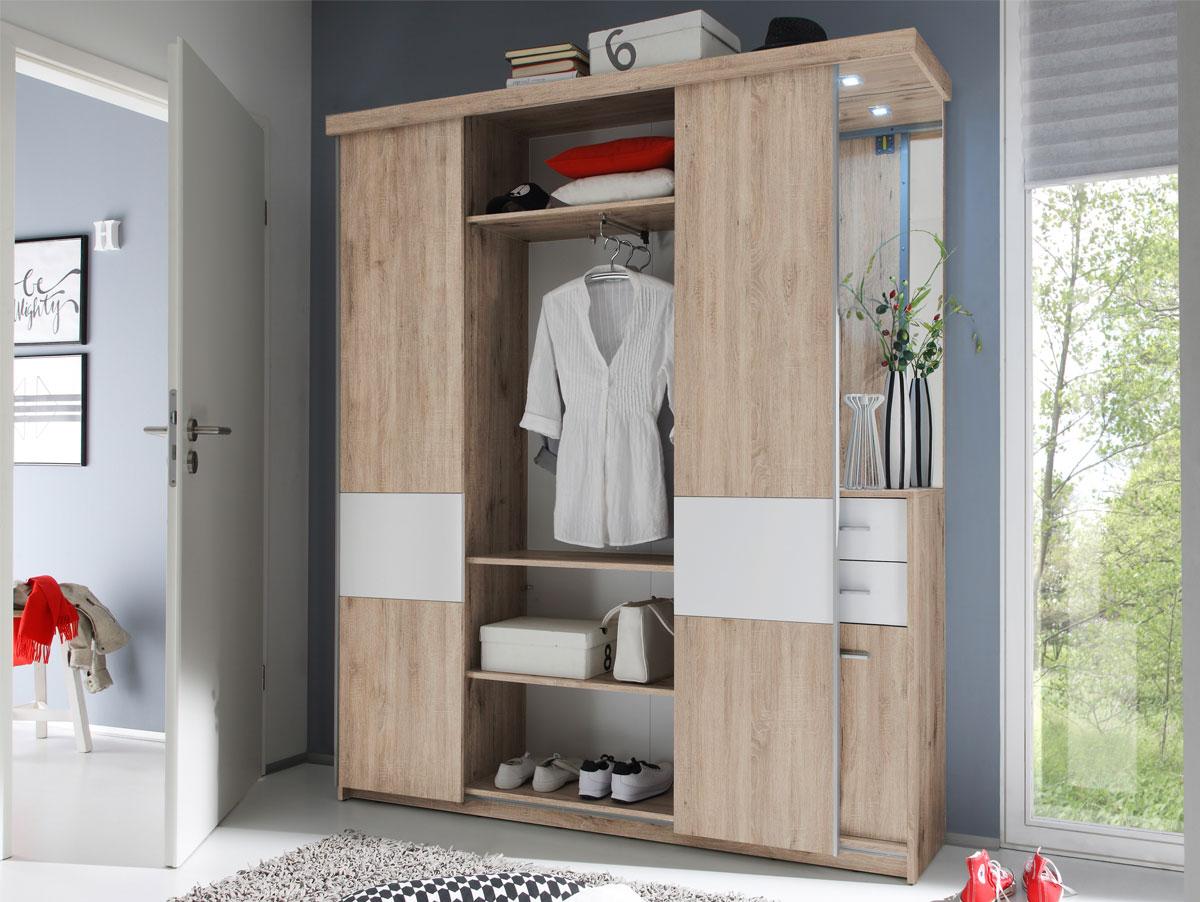 Möbel-Eins STORAGE Kompaktgarderobe Eiche Sonoma / weiß