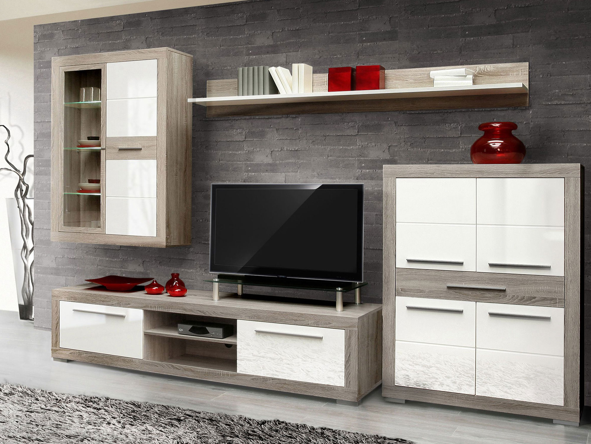amberg ii wohnwand eiche sonoma grau wei hg. Black Bedroom Furniture Sets. Home Design Ideas