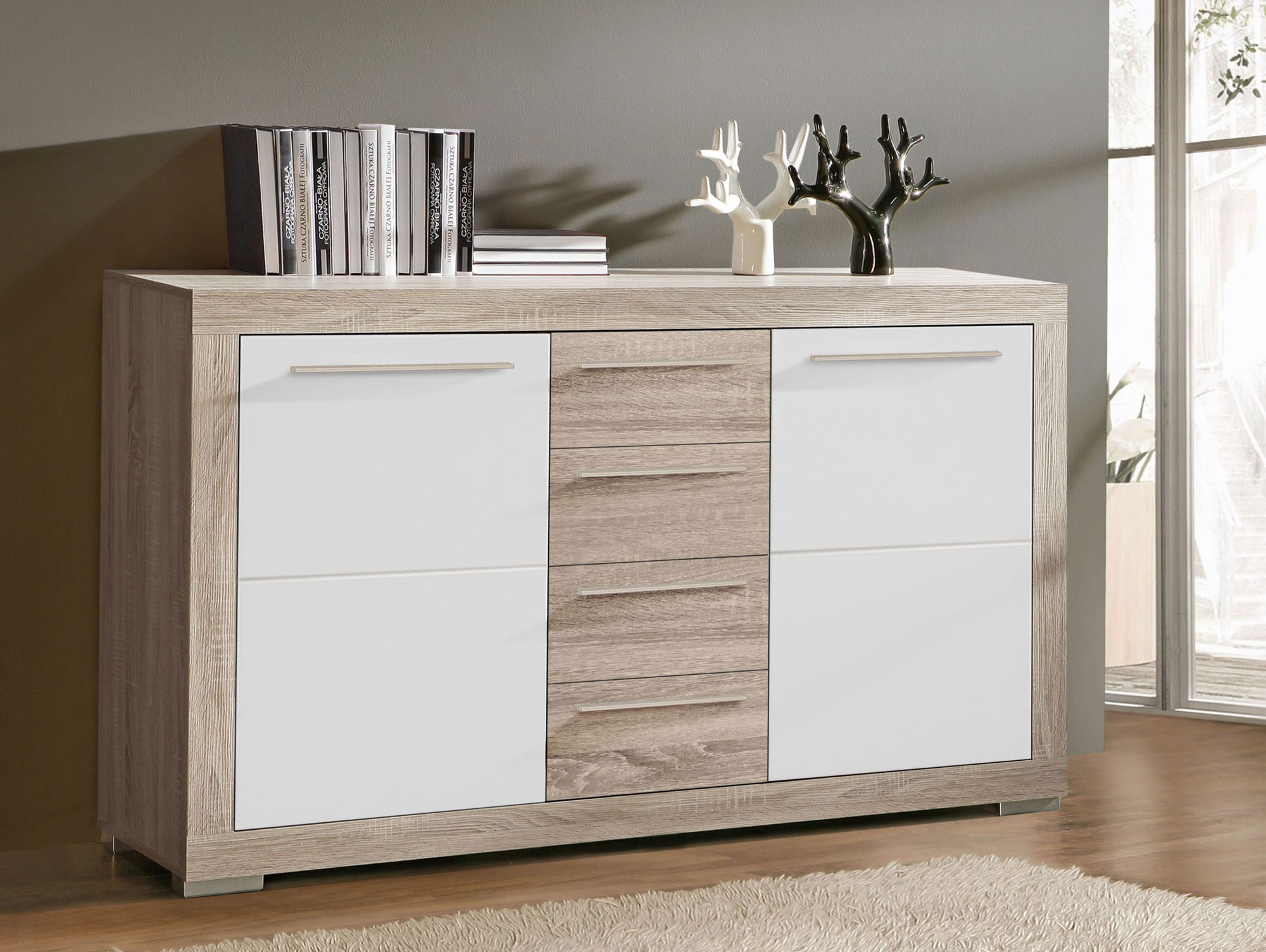 amberg sideboard eiche sonoma grau wei hochglanz. Black Bedroom Furniture Sets. Home Design Ideas