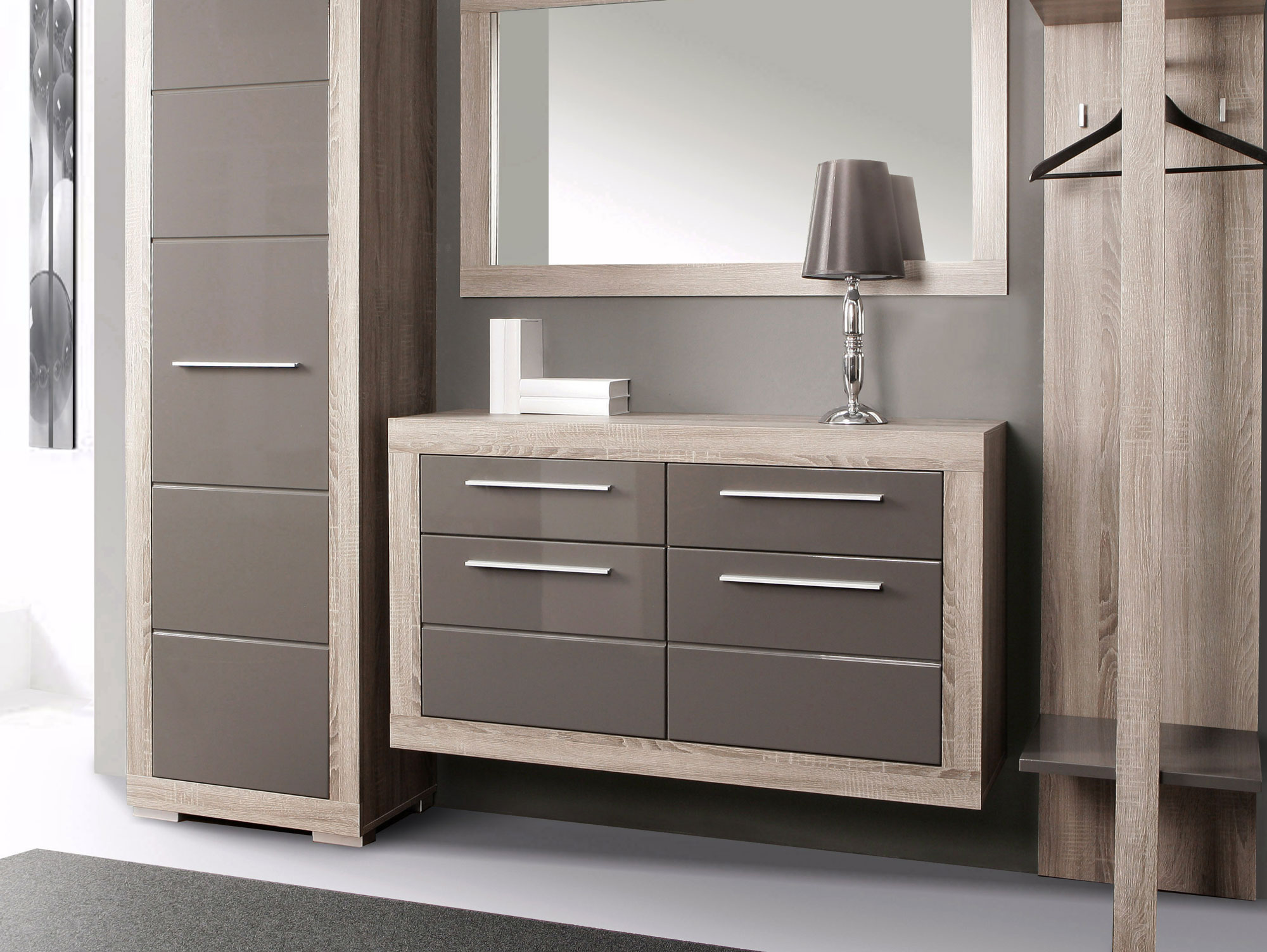amberg schuhschrank eiche sonoma grau grau hochglanz. Black Bedroom Furniture Sets. Home Design Ideas