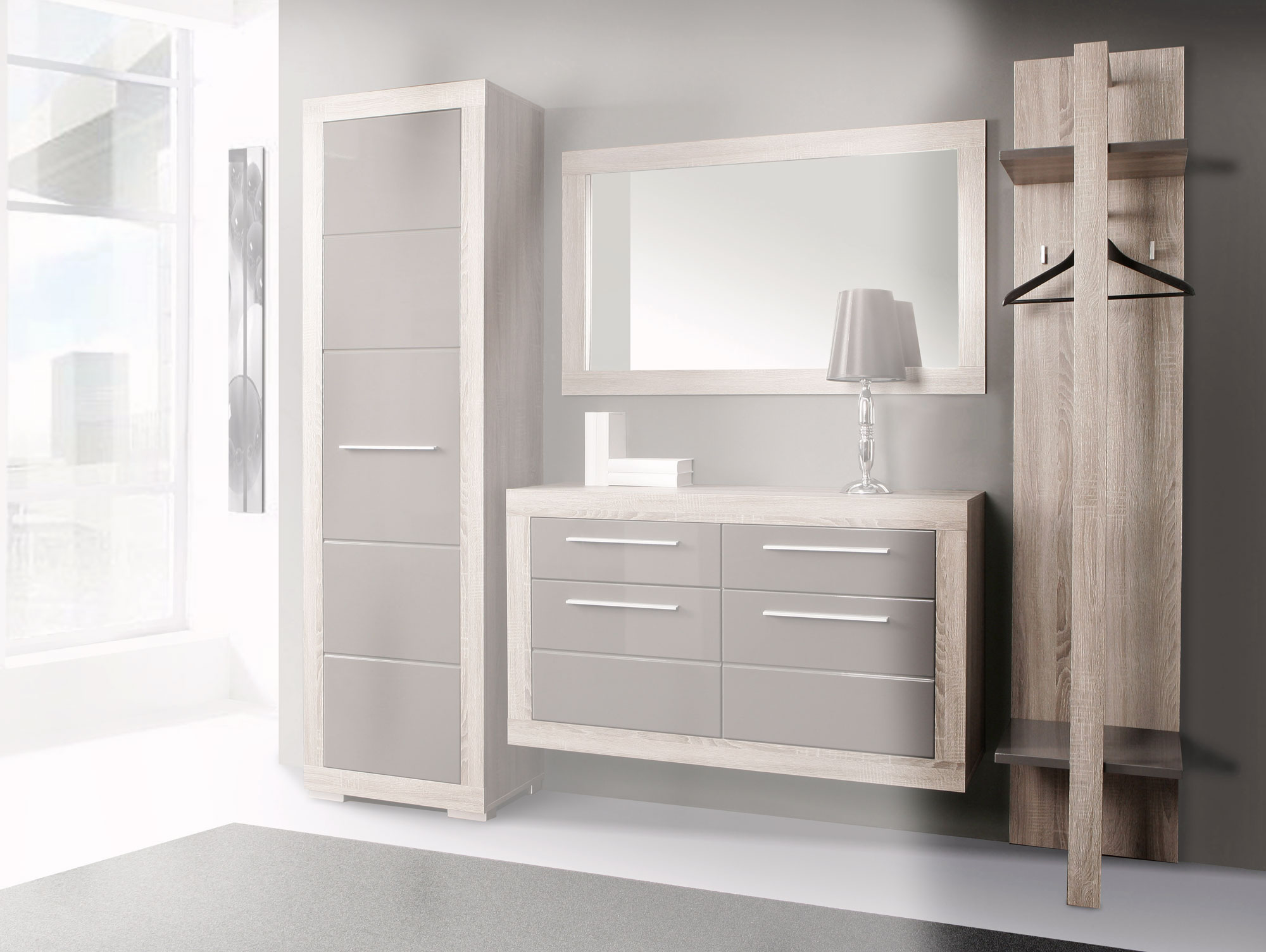 amberg garderobenpaneel eiche sonoma grau grau hochgl. Black Bedroom Furniture Sets. Home Design Ideas