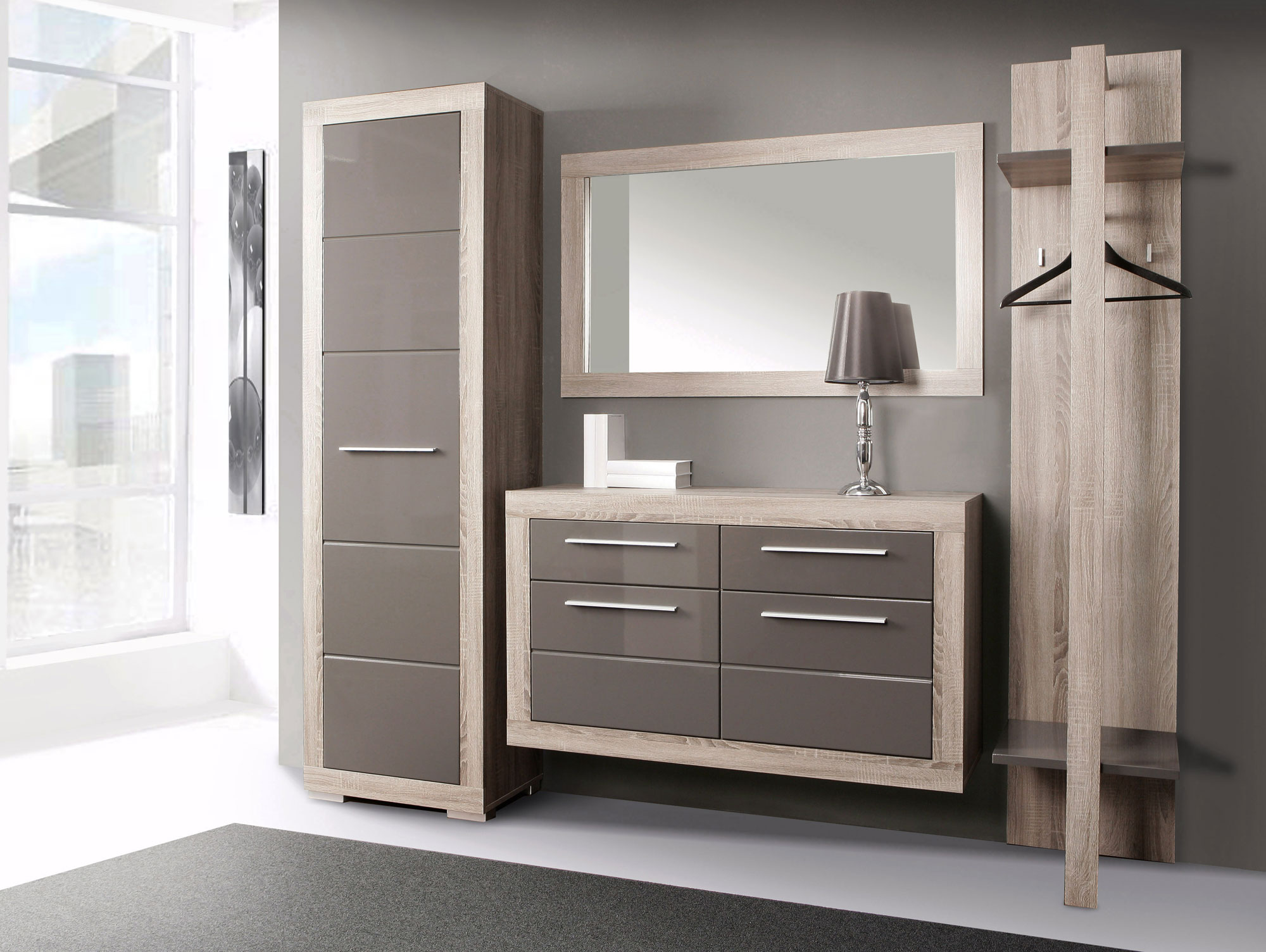 amberg garderobenset eiche sonoma grau grau hochglanz. Black Bedroom Furniture Sets. Home Design Ideas