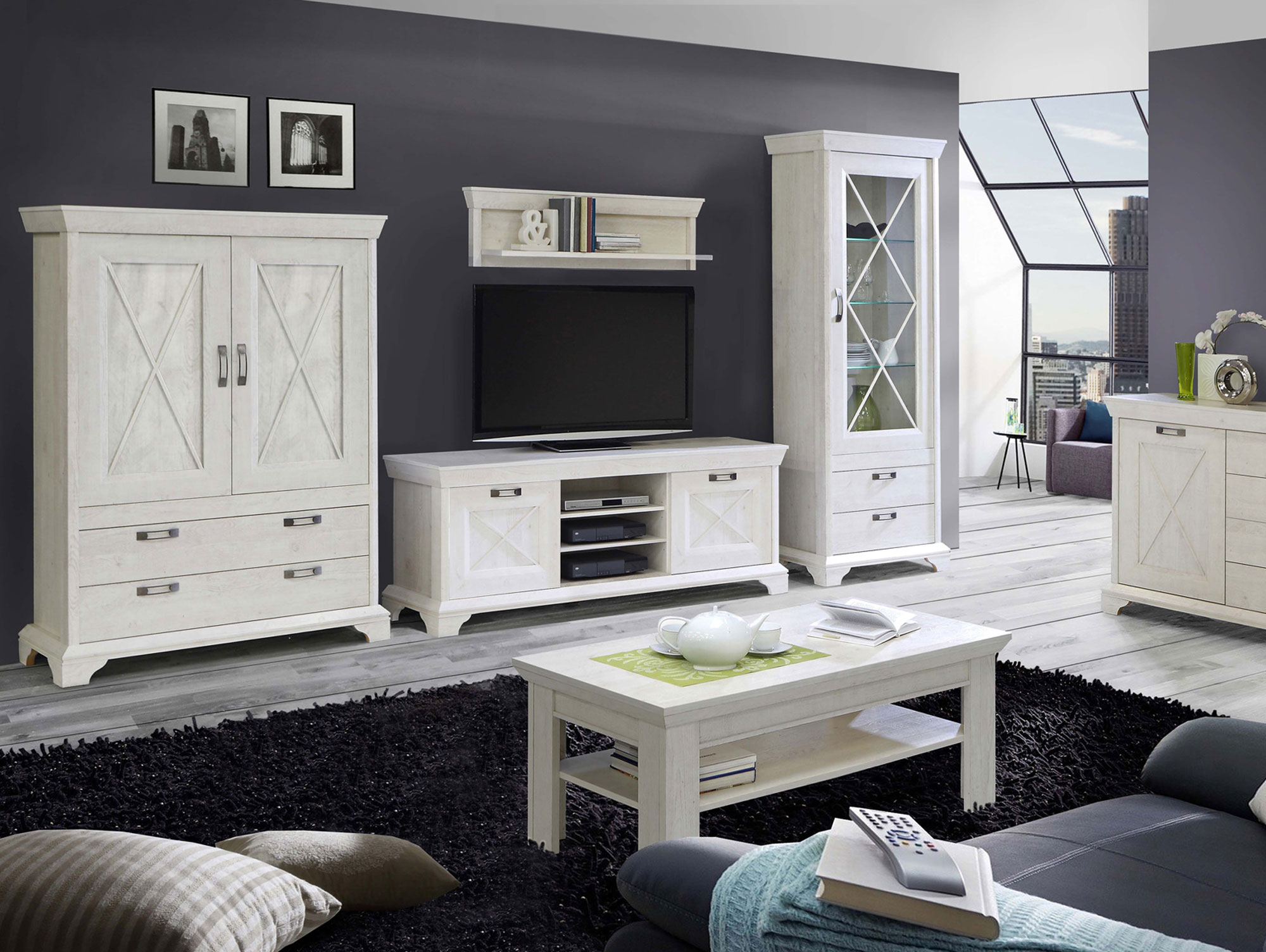 wohnwand kasha pinie weiss. Black Bedroom Furniture Sets. Home Design Ideas
