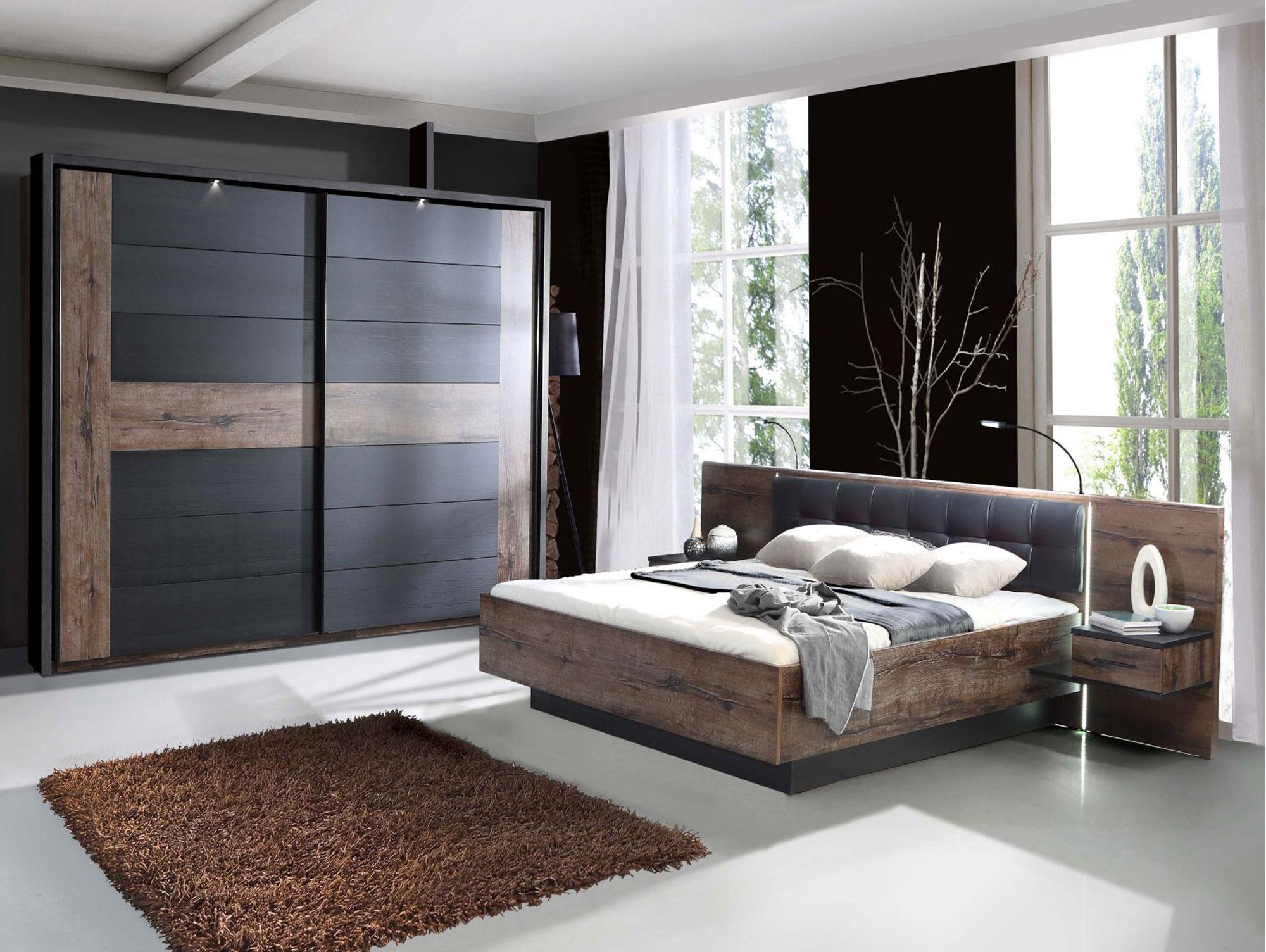 ERLIN Schlafzimmer Schwarzeiche/Schlammeiche 180 x 200 cm ...