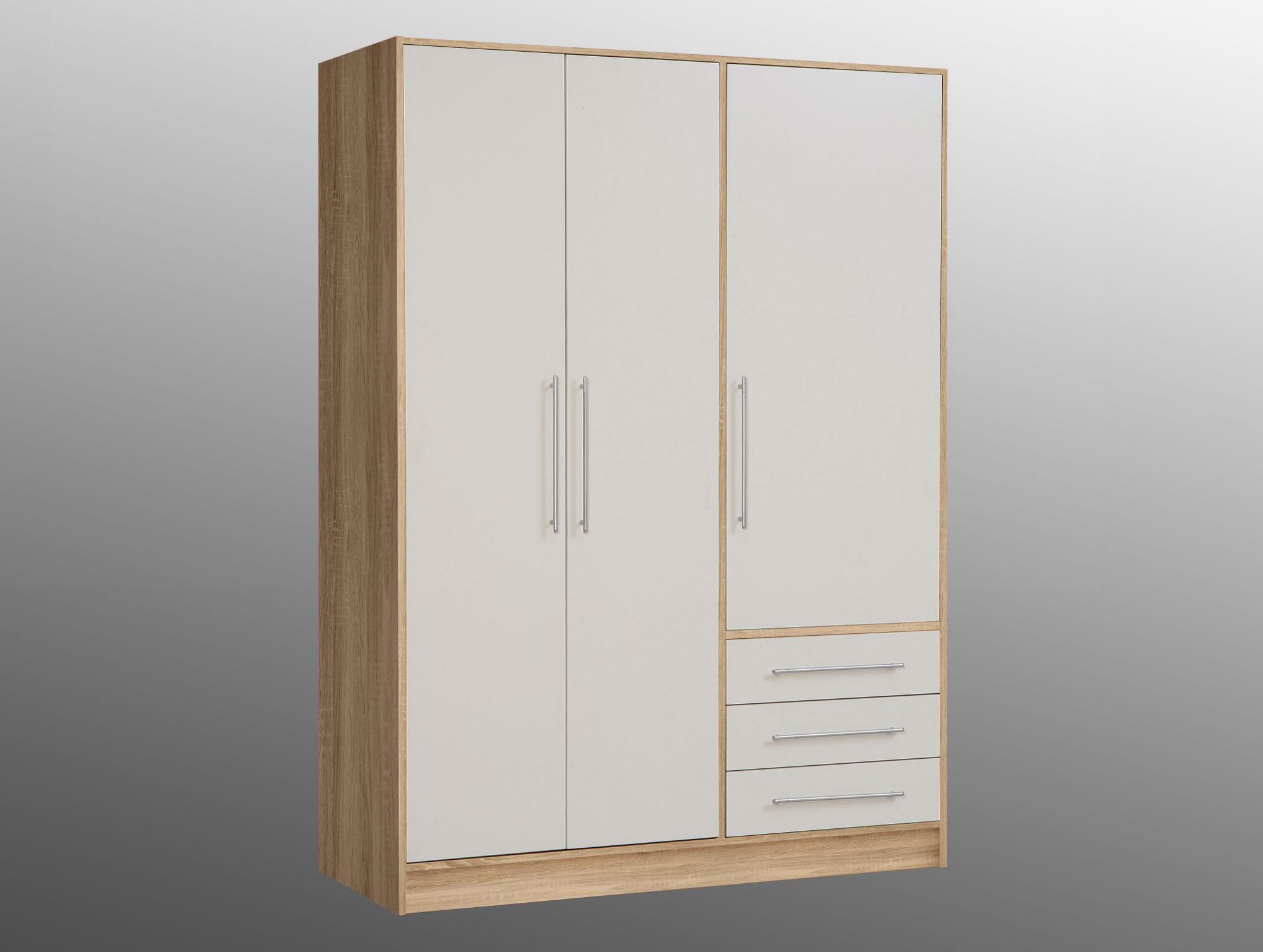 jami kleiderschrank 3 trg 3 sk eiche sonoma weiss. Black Bedroom Furniture Sets. Home Design Ideas