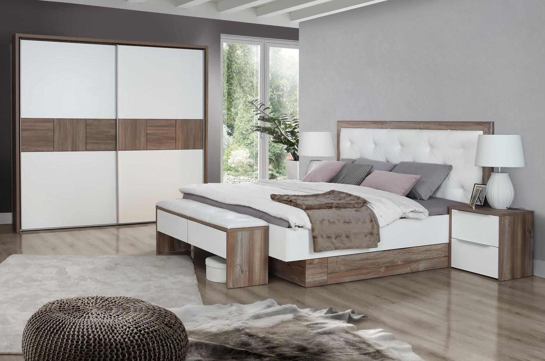 EVANDO Komplett-Schlafzimmer Picea Kiefer Nachbildung MDF/weiss 220 cm