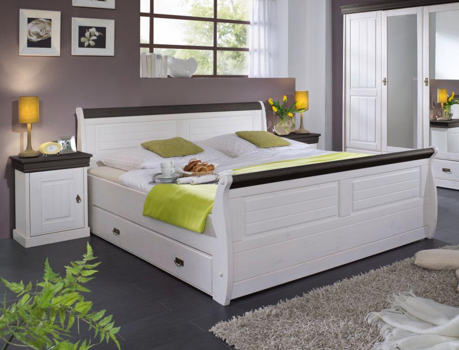 roman massivholzbett kiefer weiss 140 x 200 weiss colonial mit bettkasten. Black Bedroom Furniture Sets. Home Design Ideas