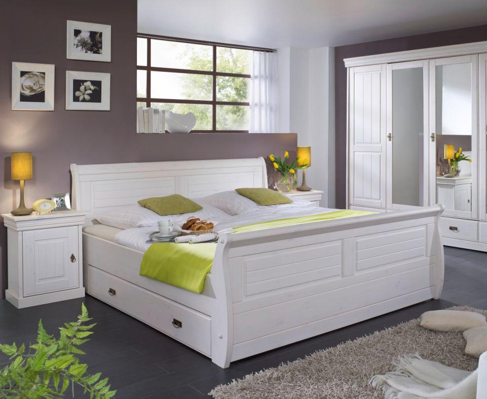 roman massivholzbett kiefer weiss 100 x 200 weiss gewachst mit bettkasten. Black Bedroom Furniture Sets. Home Design Ideas