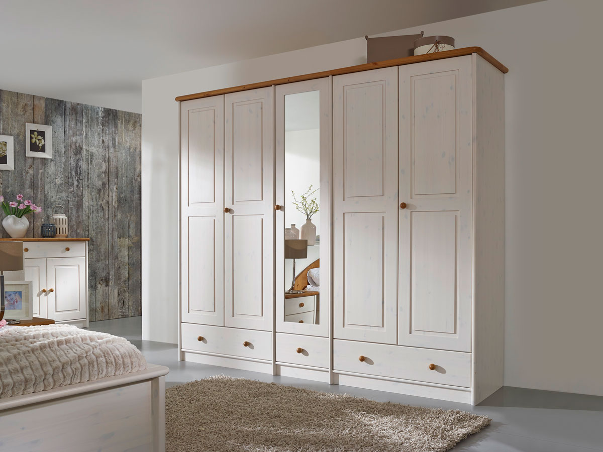 sky komplett schlafzimmer kiefer weiss eichefarbig gebeizt 248 cm 5 t rig ohne bettkasten. Black Bedroom Furniture Sets. Home Design Ideas