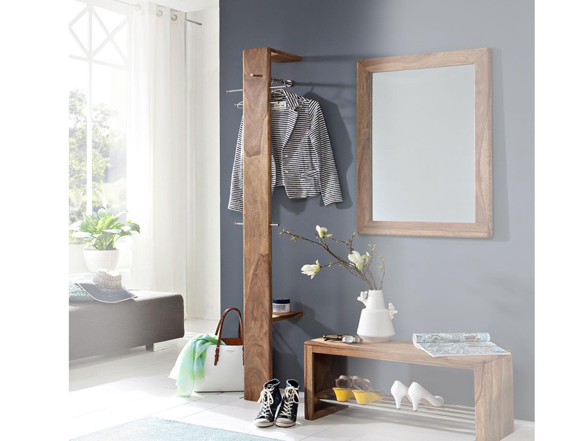 nils wandgarderobe sheesham gebeizt. Black Bedroom Furniture Sets. Home Design Ideas