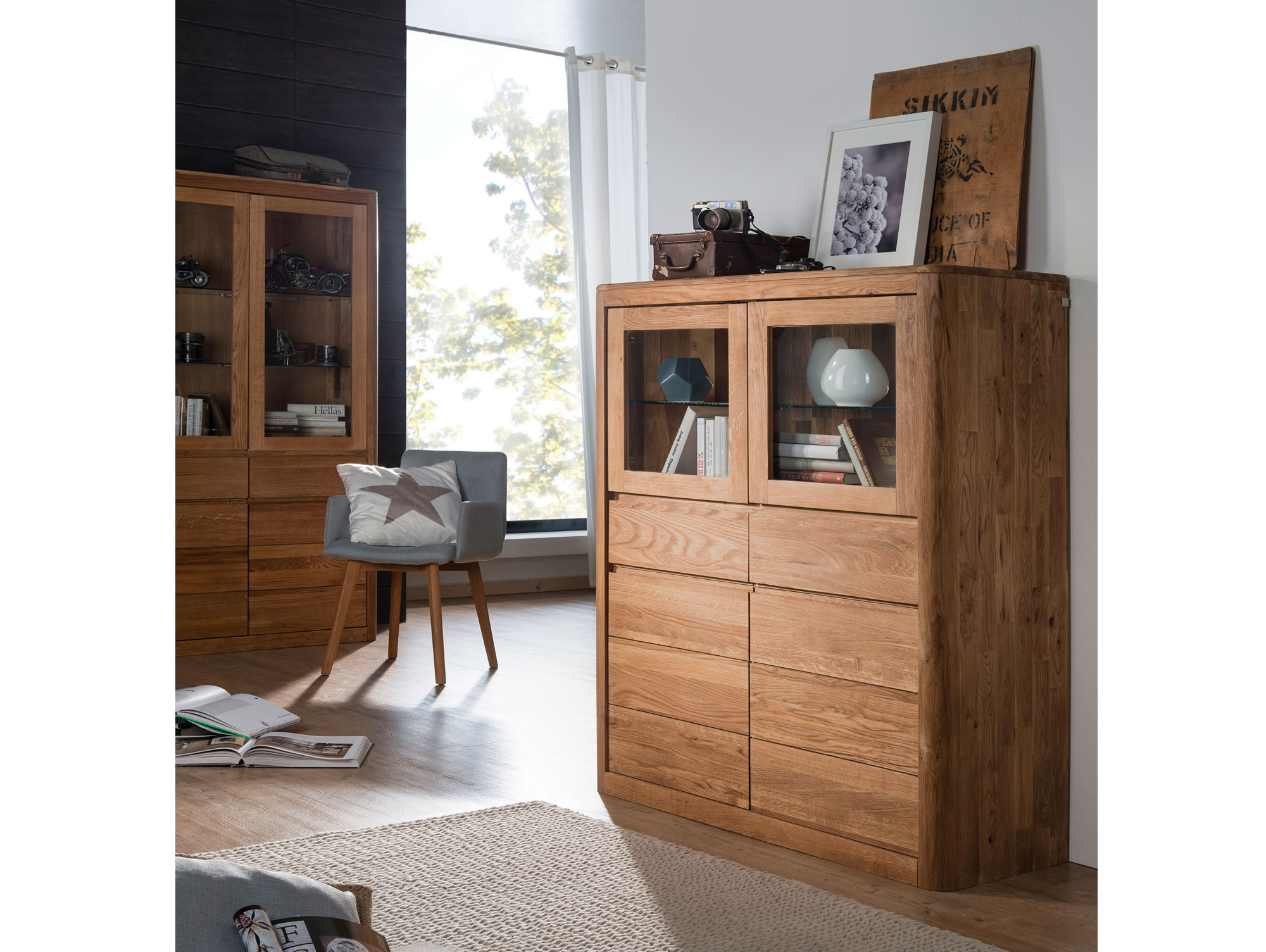 astoria ii highboard wildeiche massiv ge lt. Black Bedroom Furniture Sets. Home Design Ideas
