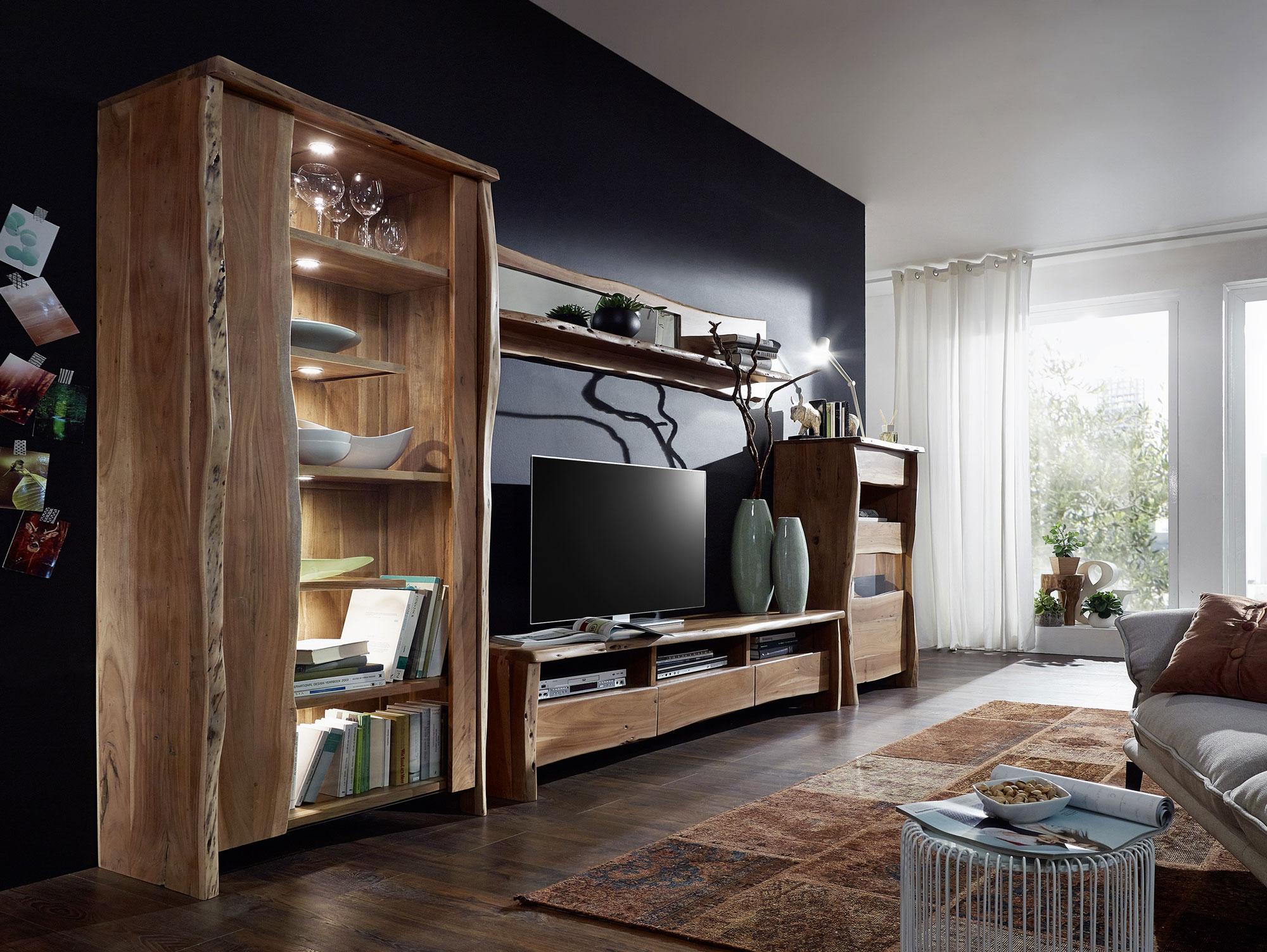 sunny wohnwand akazie lackiert. Black Bedroom Furniture Sets. Home Design Ideas