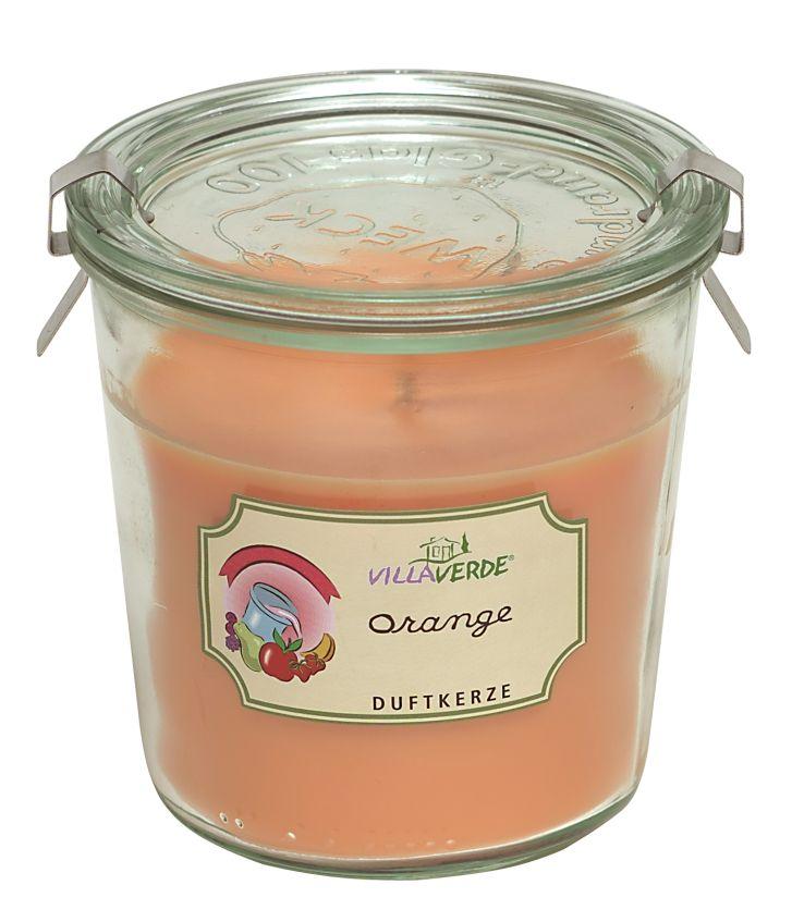 Duftkerze im Einmachglas mit Deckel Orange