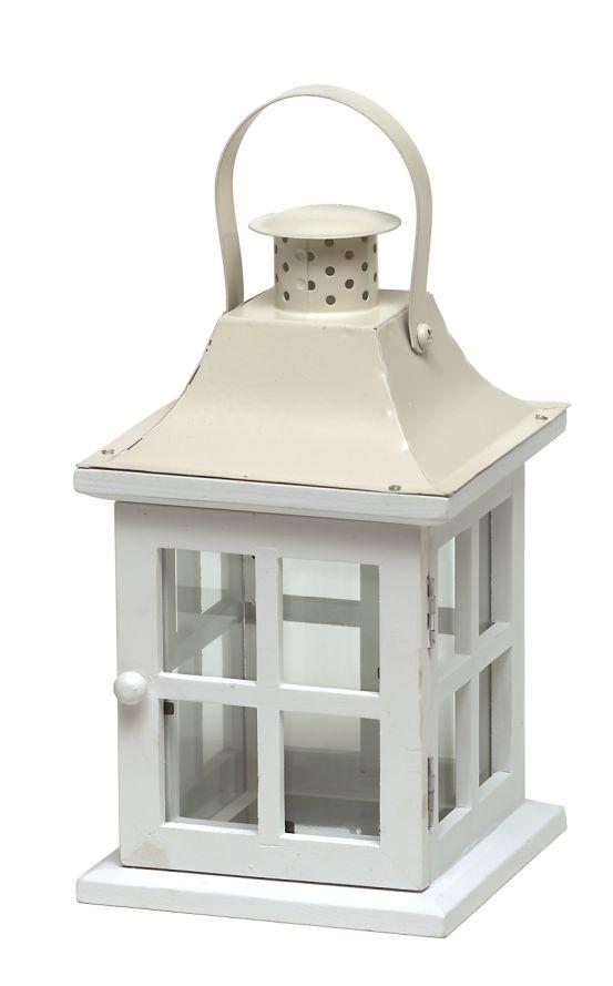 Holz-Laterne mit Metalldeckel weiß