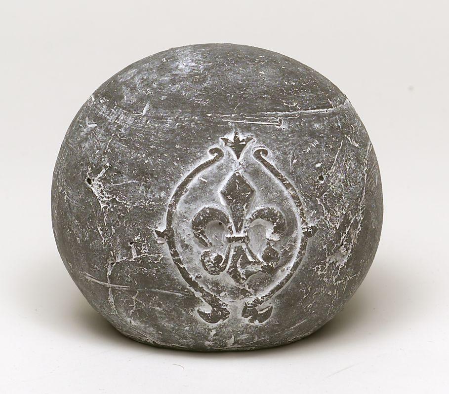 Keramik Kugel 15 cm grau mit Lilie
