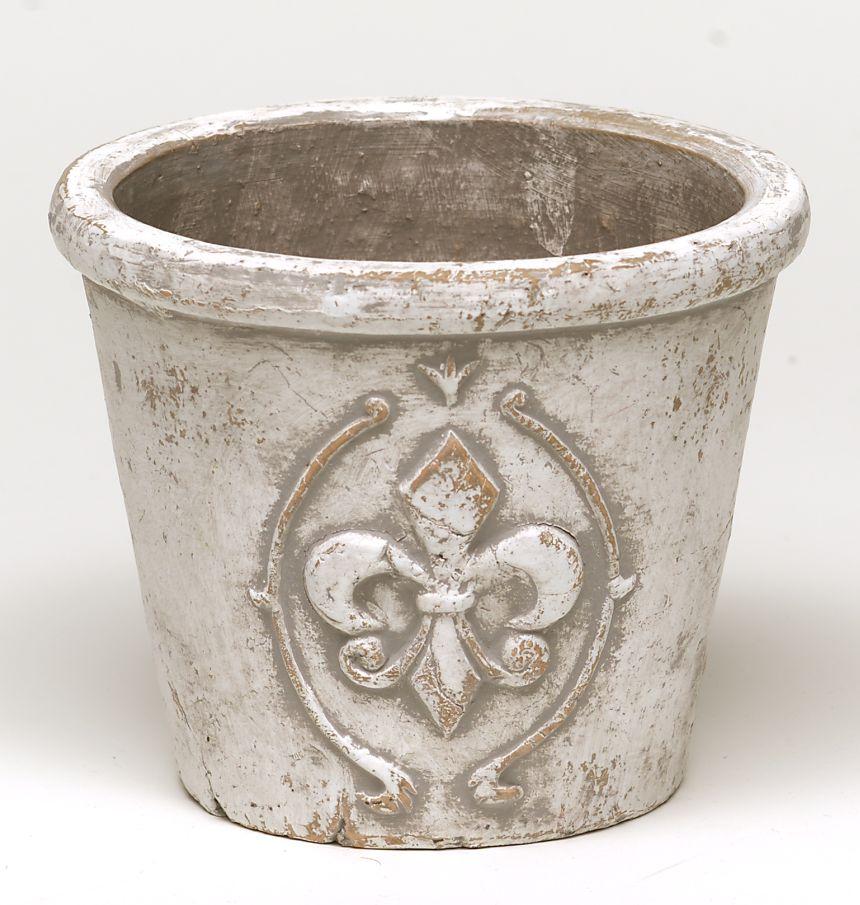 Keramik Topf rund 18x15 cm beige mit Lilie