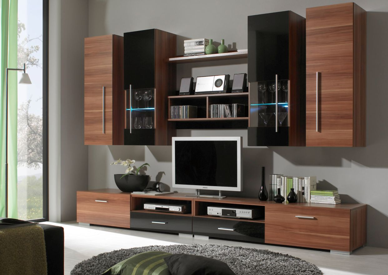 stelar wohnwand nussbaum raum und m beldesign inspiration. Black Bedroom Furniture Sets. Home Design Ideas