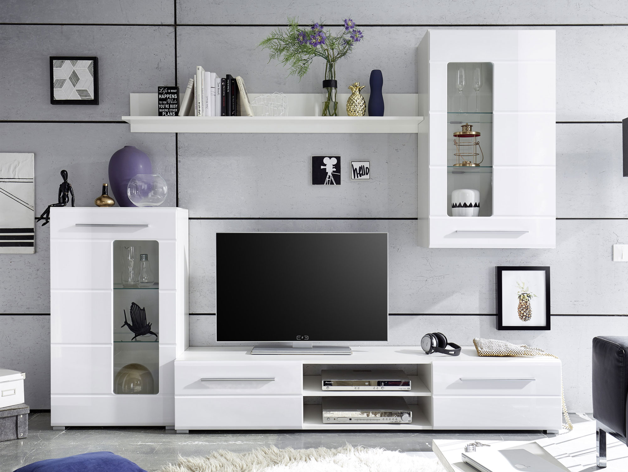 erna i wohnwand wei. Black Bedroom Furniture Sets. Home Design Ideas