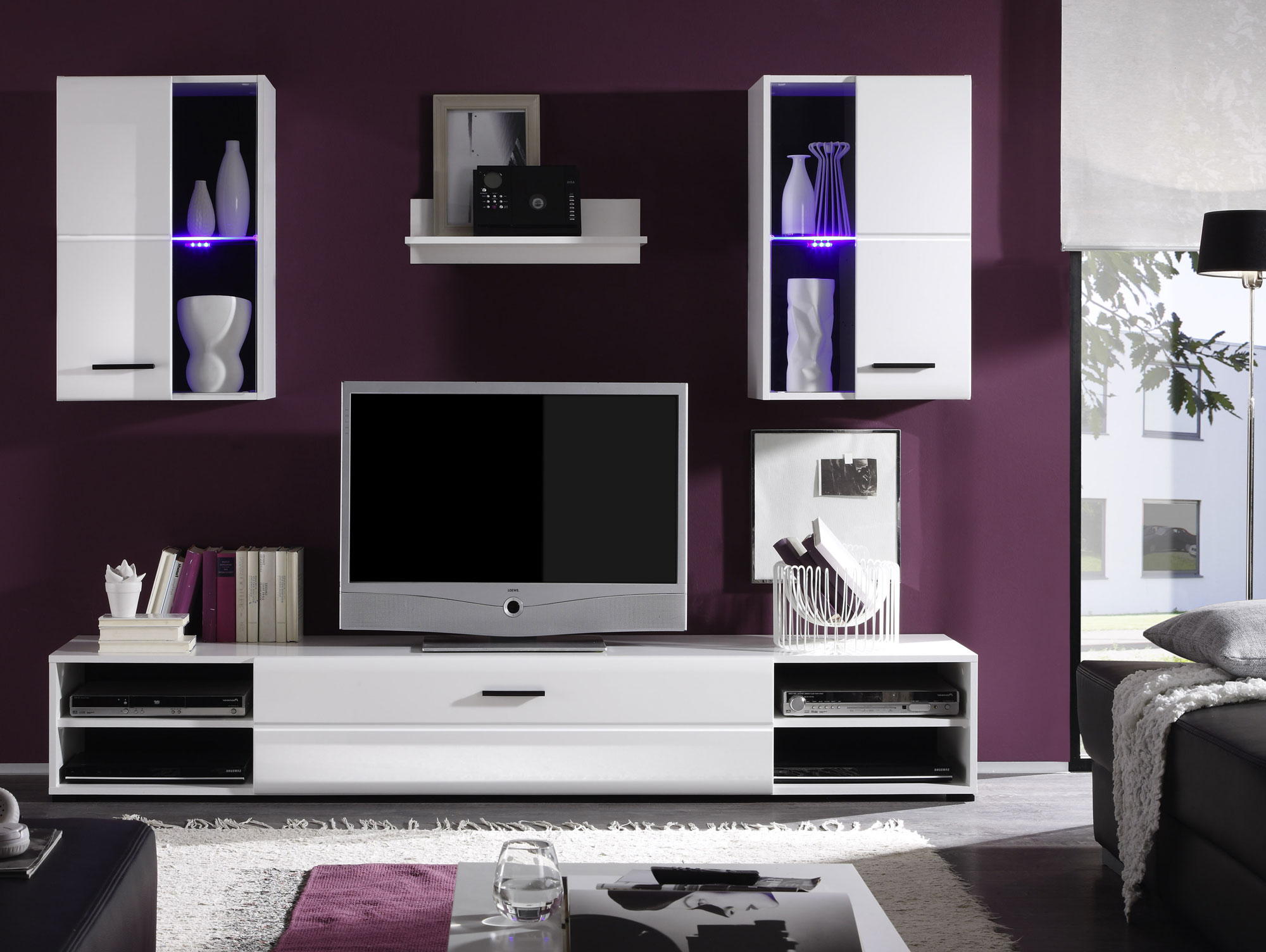 falco wohnwand wei wei. Black Bedroom Furniture Sets. Home Design Ideas
