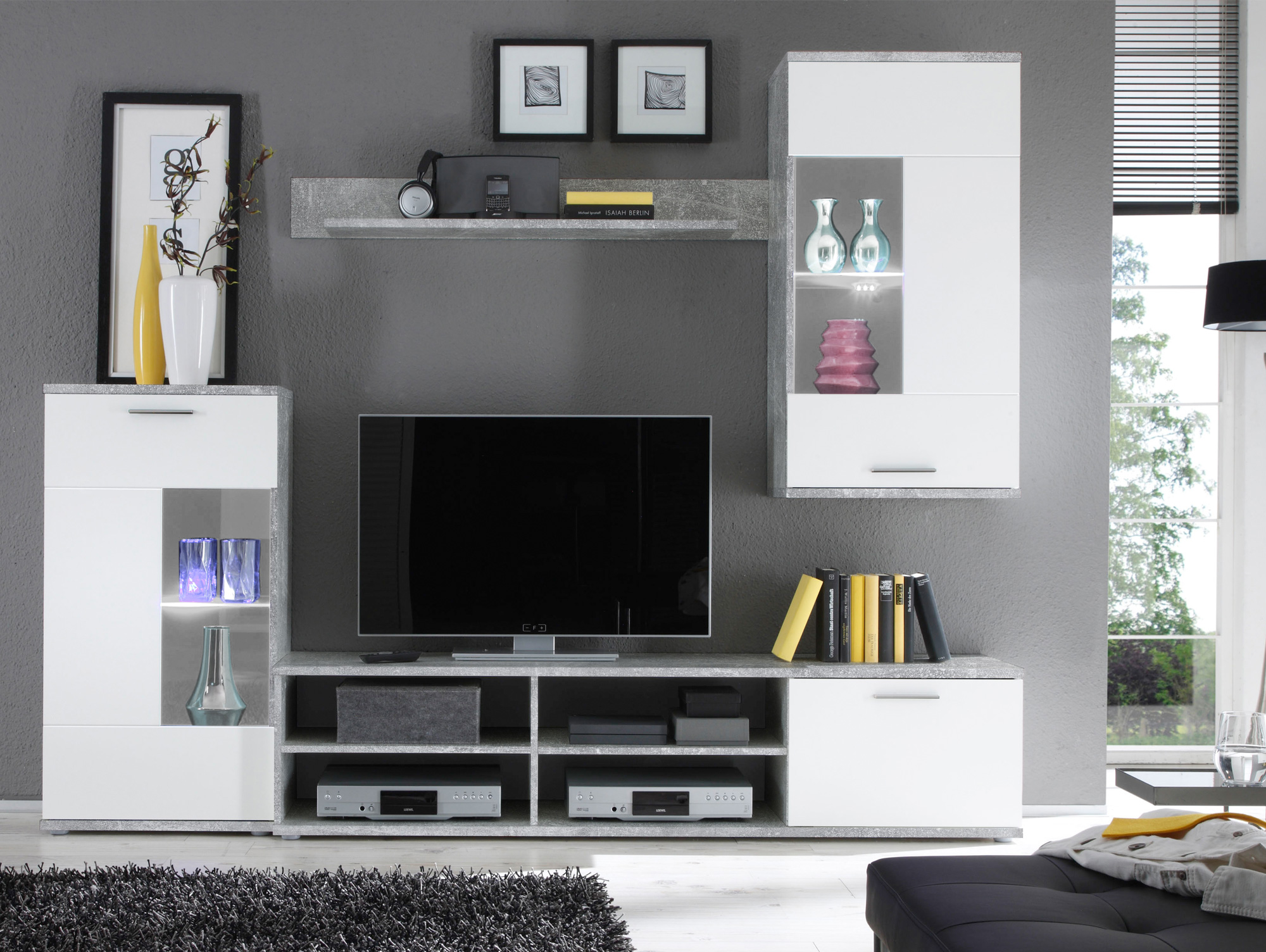fadia wohnwand beton wei. Black Bedroom Furniture Sets. Home Design Ideas