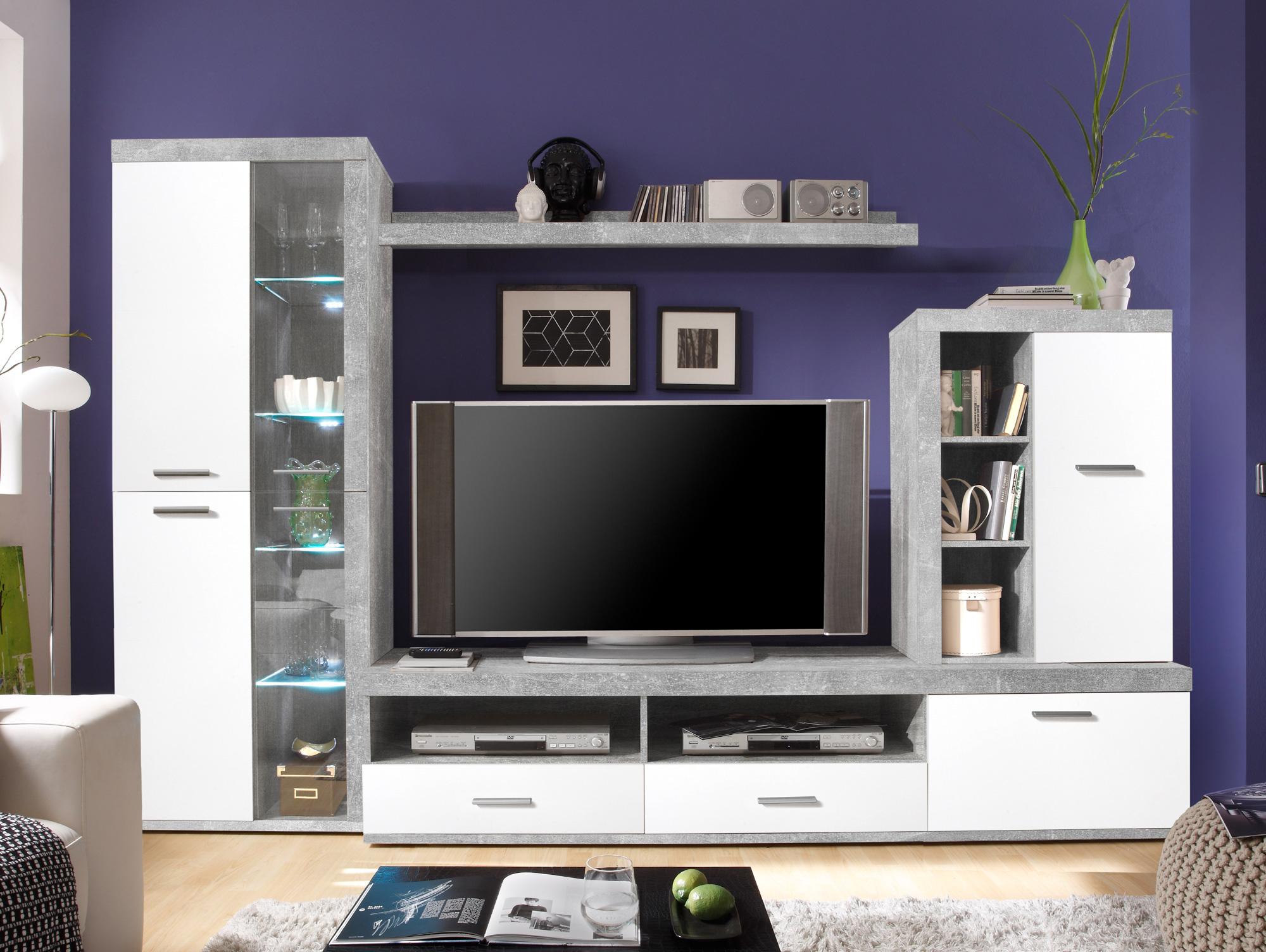 carim wohnwand beton wei. Black Bedroom Furniture Sets. Home Design Ideas