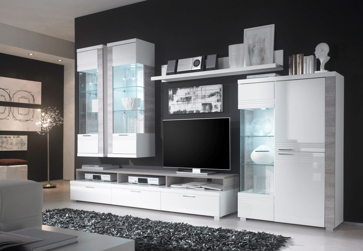 wohnwand weiss g nstig kaufen. Black Bedroom Furniture Sets. Home Design Ideas