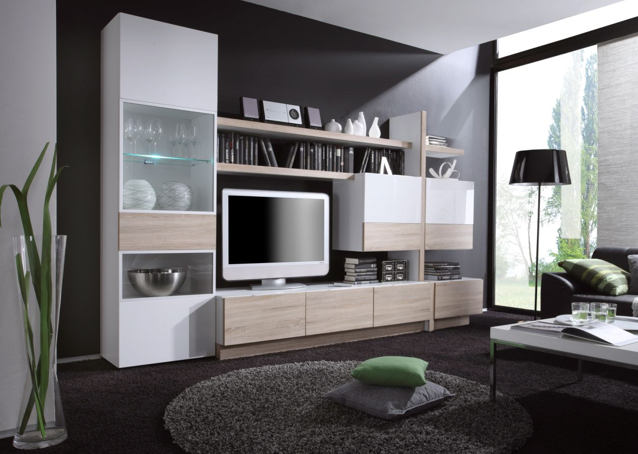 wohnwand weiss hochglanz appl strass glitzer optik woody. Black Bedroom Furniture Sets. Home Design Ideas