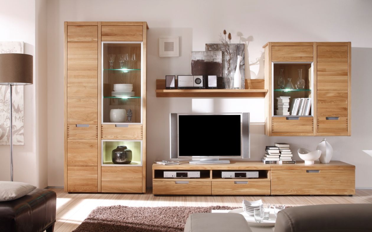 massive wohnwand eiche g nstig kaufen. Black Bedroom Furniture Sets. Home Design Ideas