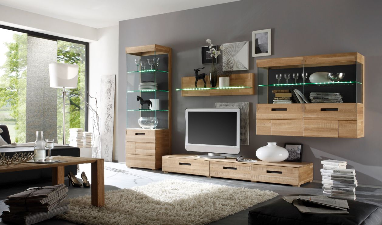 ramon wohnwand i eiche geb rstet billiger. Black Bedroom Furniture Sets. Home Design Ideas