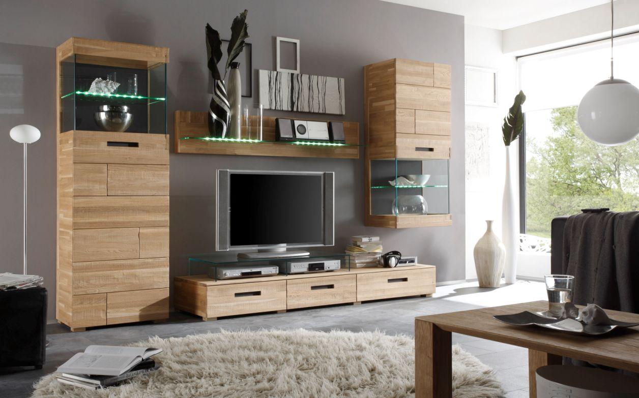 ramon wohnwand ii eiche geb rstet preiswert. Black Bedroom Furniture Sets. Home Design Ideas