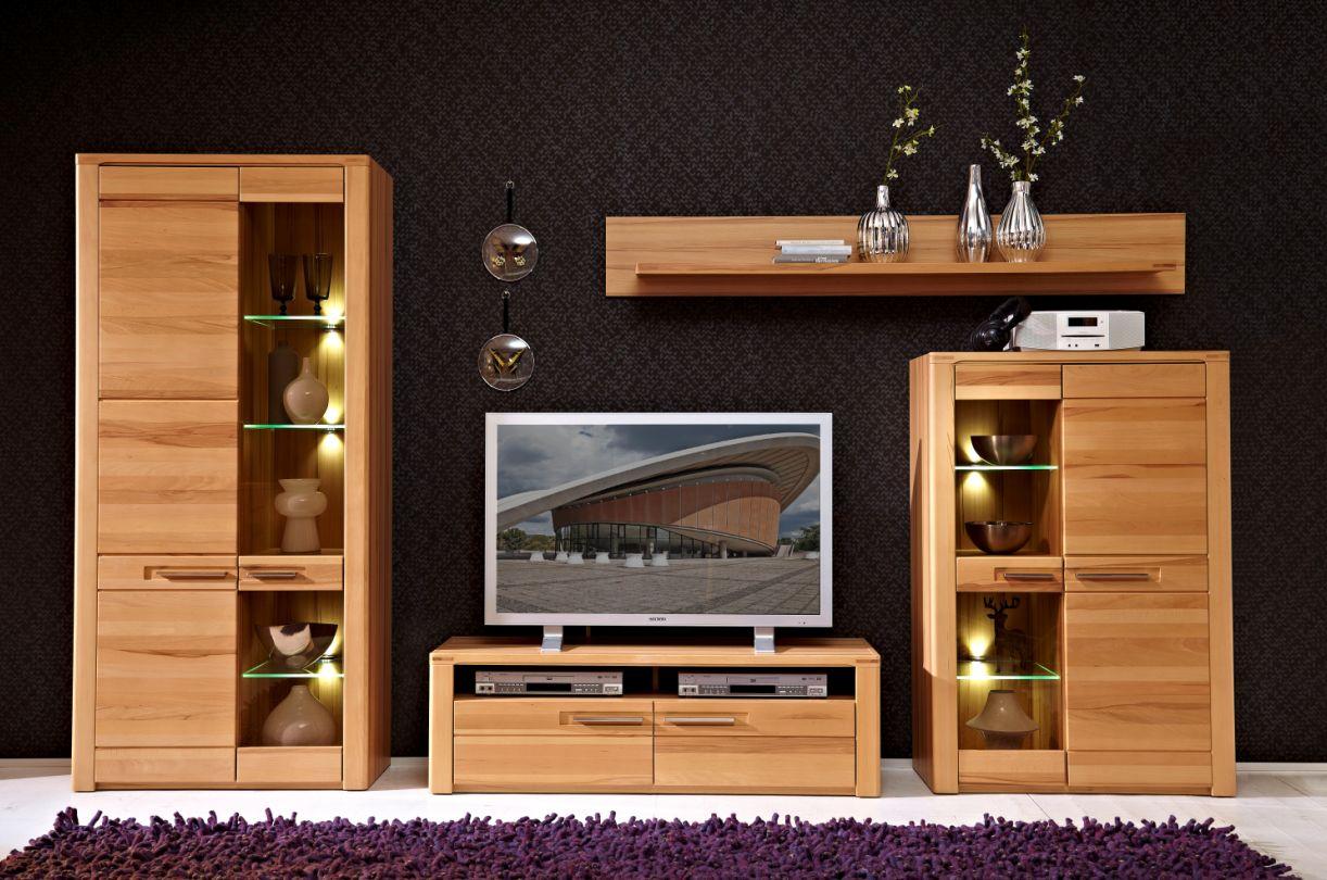 nestor plus wohnwand kernbuche lackiert. Black Bedroom Furniture Sets. Home Design Ideas