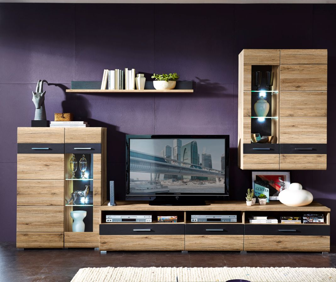 sancho wohnwand i san remo eiche hell schiefer g nstig kaufen sch ne m bel. Black Bedroom Furniture Sets. Home Design Ideas